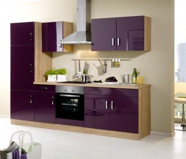 Küchenzeile ATLANTA - Küchenblock mit E-Geräte und Induktionskochfeld - Breite 270 cm - Aubergine