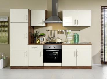 Küchenzeile NEVADA - Küchenblock mit E-Geräte und Induktionskochfeld - Breite 270 cm - Creme
