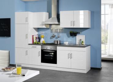 Küchenzeile NEVADA - Küchenblock mit E-Geräte und Induktionskochfeld - Breite 270 cm - Weiß