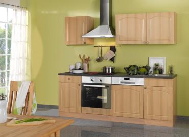Küchenzeile BOSTON - Küchenblock mit E-Geräte und Induktionskochfeld - Breite 220 cm - Buche