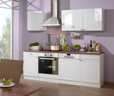 Küchenzeile BOSTON - Küchenblock mit E-Geräte und Induktionskochfeld - Breite 220 cm - Hochglanz Weiß