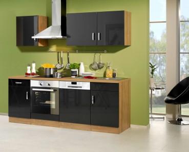 Küchenzeile ATLANTA - Küchenblock mit E-Geräte und Induktionskochfeld - Breite 220 cm - Anthrazit