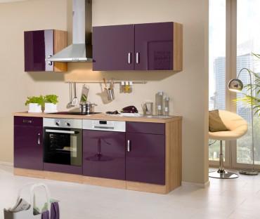 Küchenzeile ATLANTA - Küchenblock mit E-Geräte und Induktionskochfeld - Breite 220 cm - Aubergine