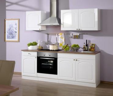 Küchenzeile BOSTON - Küchenblock mit E-Geräte und Induktionskochfeld - Breite 210 cm - Hochglanz Weiß