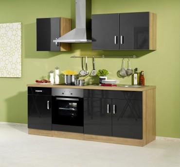 Küchenzeile ATLANTA - Küchenblock mit E-Geräte und Induktionskochfeld - Breite 210 cm - Anthrazit