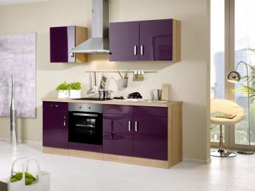 Küchenzeile ATLANTA - Küchenblock mit E-Geräte und Induktionskochfeld - Breite 210 cm - Aubergine