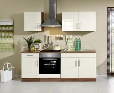 Küchenzeile NEVADA - Küchenblock mit E-Geräte und Induktionskochfeld - Breite 210 cm - Creme