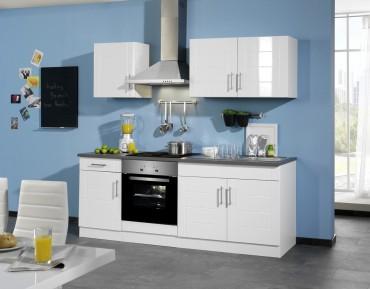 Küchenzeile NEVADA - Küchenblock mit E-Geräte und Induktionskochfeld - Breite 210 cm - Weiß