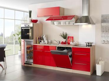 Küchenzeile HUSUM - Küchen mit E-Geräte - Breite 280 cm - Hochglanz Rot