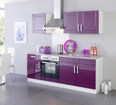 Küchenzeile VAREL - Küchen mit E-Geräte - Breite 210 cm - Hochglanz Aubergine
