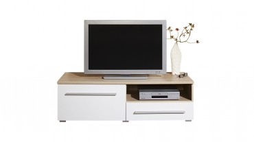 TV Lowboard MILANO - 120 cm breit - 1 Tür, 1 Schublade - Weiß / Eiche Sonoma
