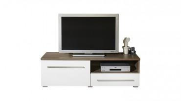 TV Lowboard MILANO - 120 cm breit - 1 Tür, 1 Schublade - Weiß / Eiche Trüffel