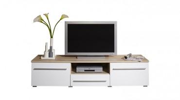 TV Lowboard MILANO - 160 cm breit - 2 Türen , 1 Schublade - Weiß / Eiche Sonoma