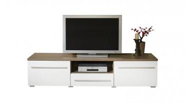 TV Lowboard MILANO - 160 cm breit - 2 Türen , 1 Schublade - Weiß / Eiche Trüffel
