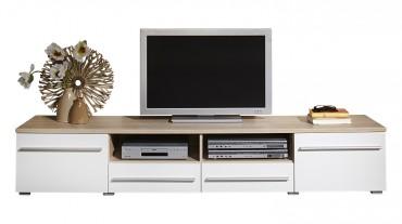 TV Lowboard MILANO - 200 cm breit - 2 Türen , 2 Schubladen - Weiß / Eiche Sonoma