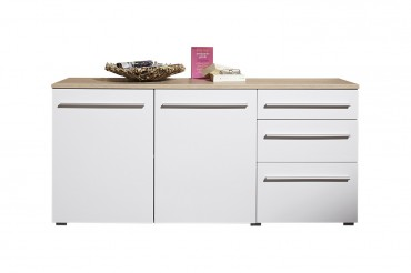 Sideboard MILANO - 160 cm breit. 2 Türen, 3 Schubladen -  Weiß / Eiche Sonoma Sägerau