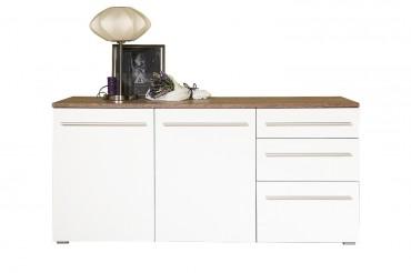 Sideboard MILANO - 160 cm breit. 2 Türen, 3 Schubladen -  Weiß / Eiche Trüffel
