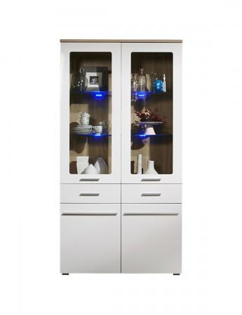 Vitrine MILANO - 100 cm breit. 2 Glastüren, 2 Türen, 2 Schubladen - Weiß / Eiche Sonoma Sägerau