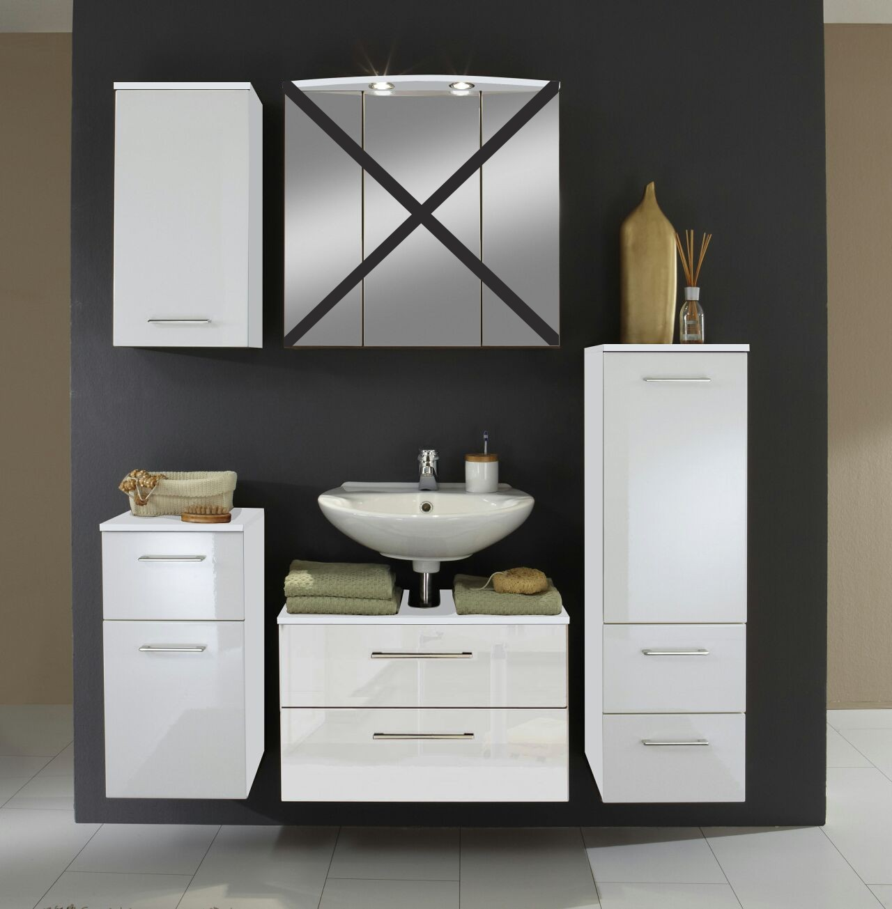 badm bel set next 4 teilig 140 cm breit hochglanz wei bad badm belsets. Black Bedroom Furniture Sets. Home Design Ideas