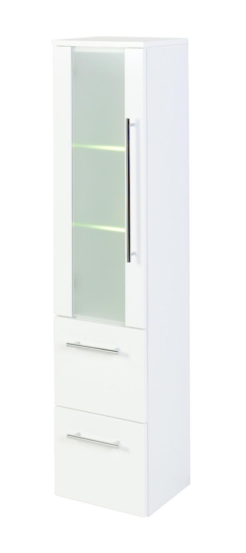 bad midischrank mailand 1 t rig 2 ausz ge 30 cm breit hochglanz wei mit glaseinsatz bad. Black Bedroom Furniture Sets. Home Design Ideas