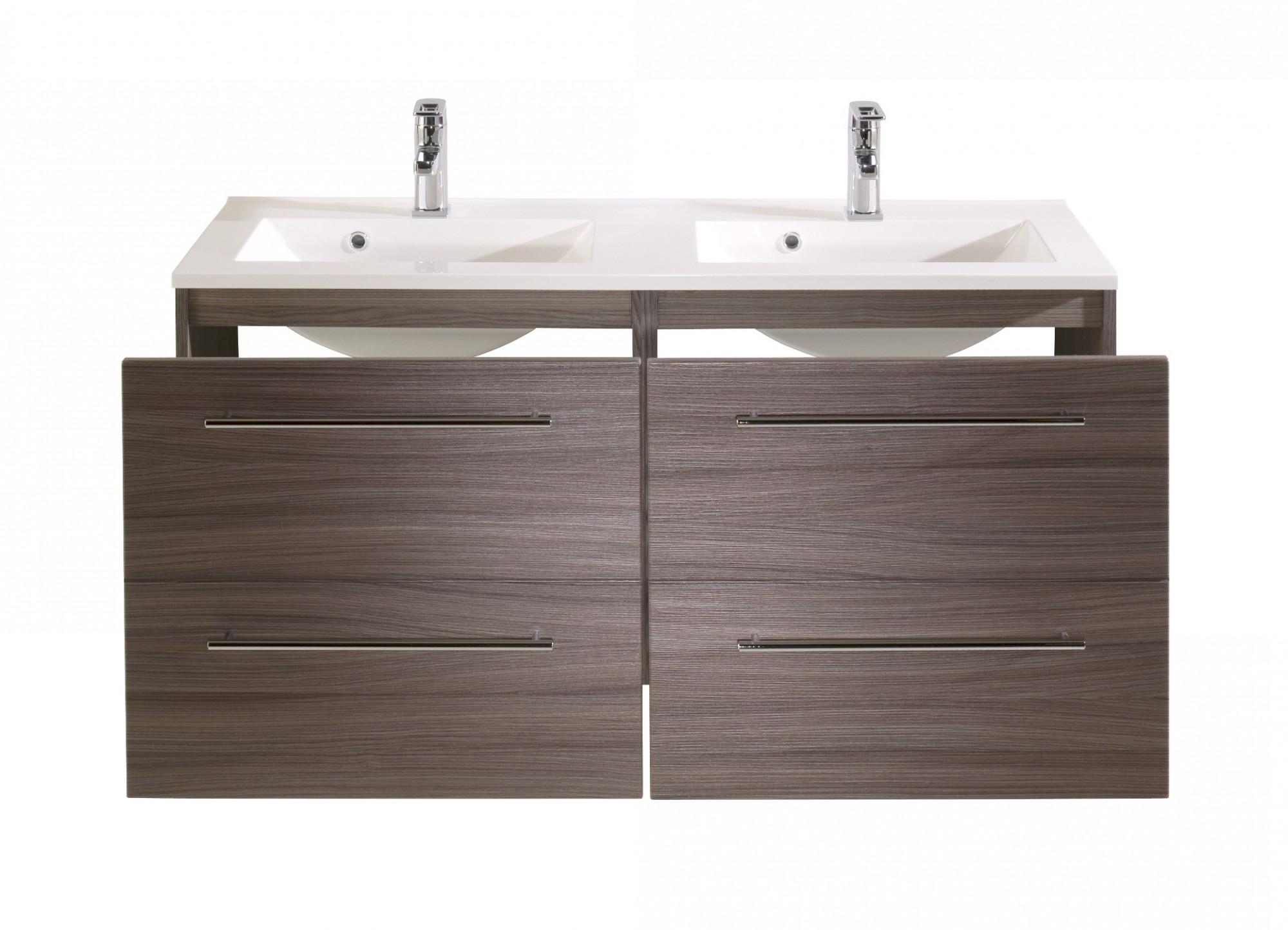neu badezimmer waschtisch mit doppel becken mailand waschplatz 120cm eichedunke ebay. Black Bedroom Furniture Sets. Home Design Ideas