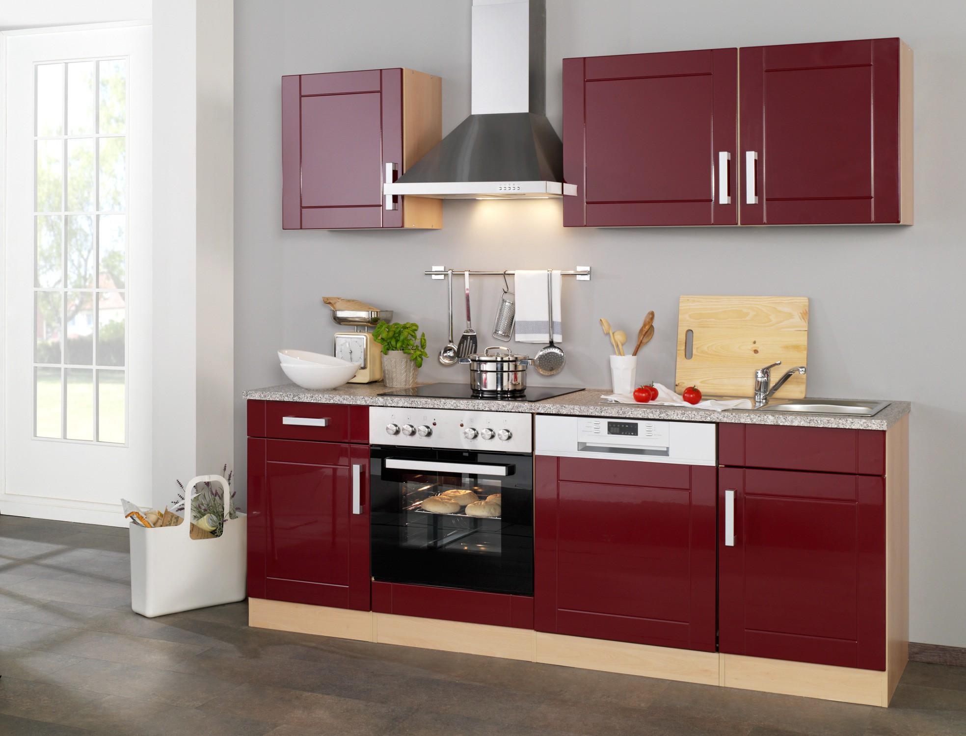 Poco Küchen Mit E Geräte ~ küchenzeile varel küchen mit e geräte breite 220 cm hochglanz bordeaux rot küche varel rot