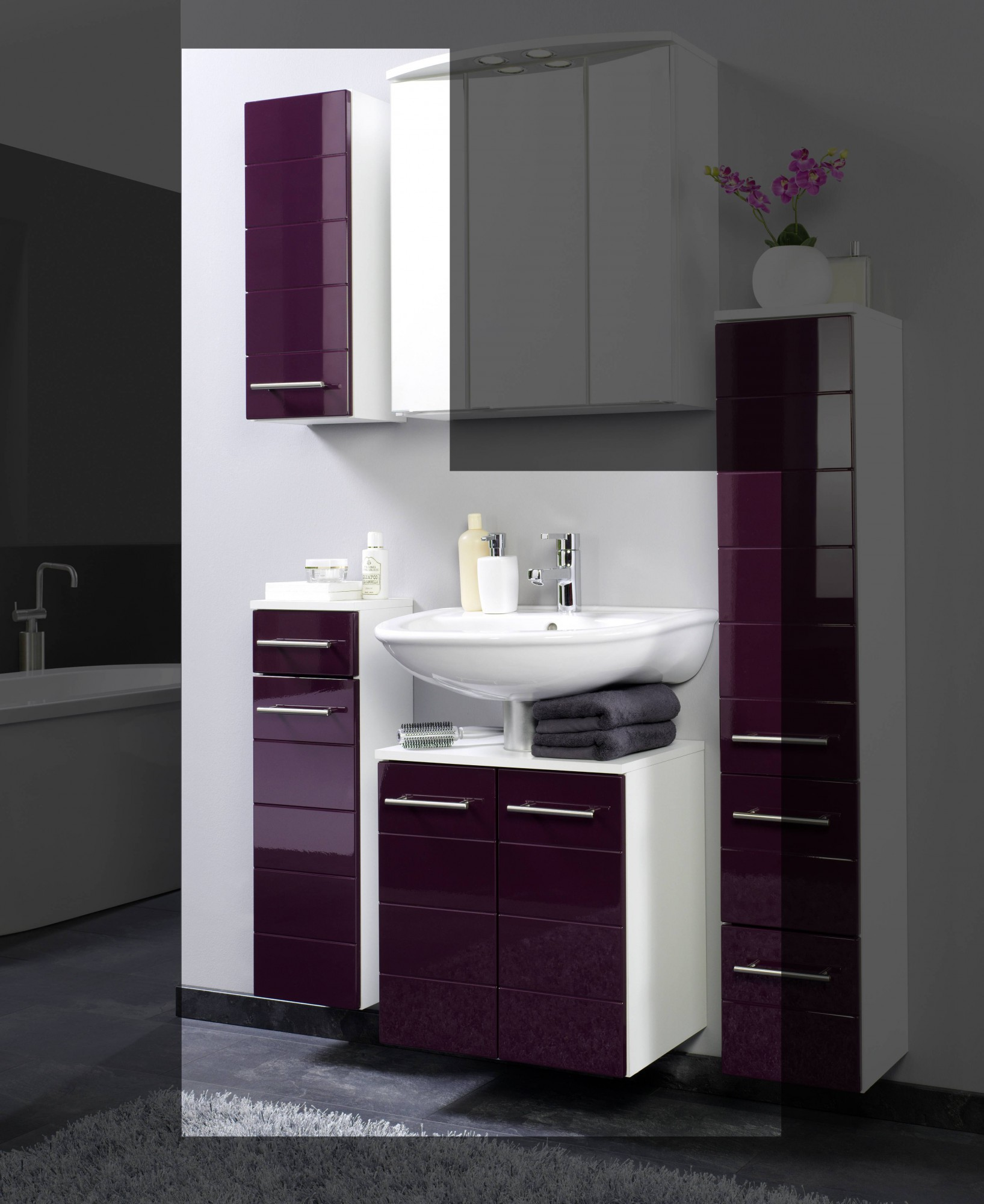 badm bel set rimini 3 teilig 75 cm breit hochglanz aubergine bad rimini. Black Bedroom Furniture Sets. Home Design Ideas