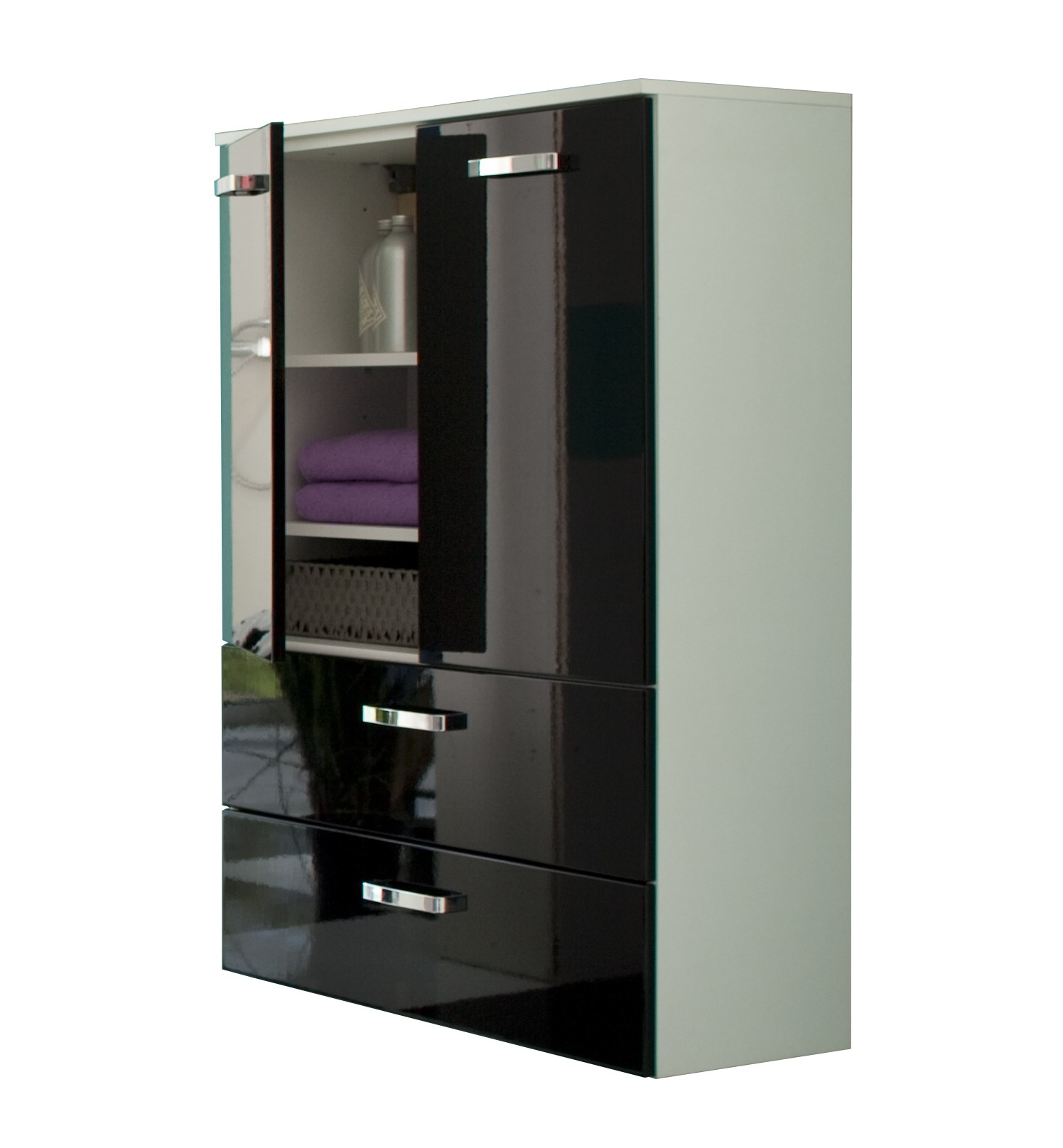 bad midischrank denver 2 t rig 2 schubladen 70 cm breit hochglanz schwarz bad denver. Black Bedroom Furniture Sets. Home Design Ideas
