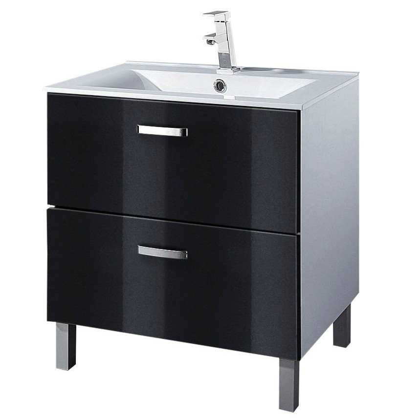 Waschtisch mit becken waschtisch prasery in wei hochglanz for Badezimmer 70 cm