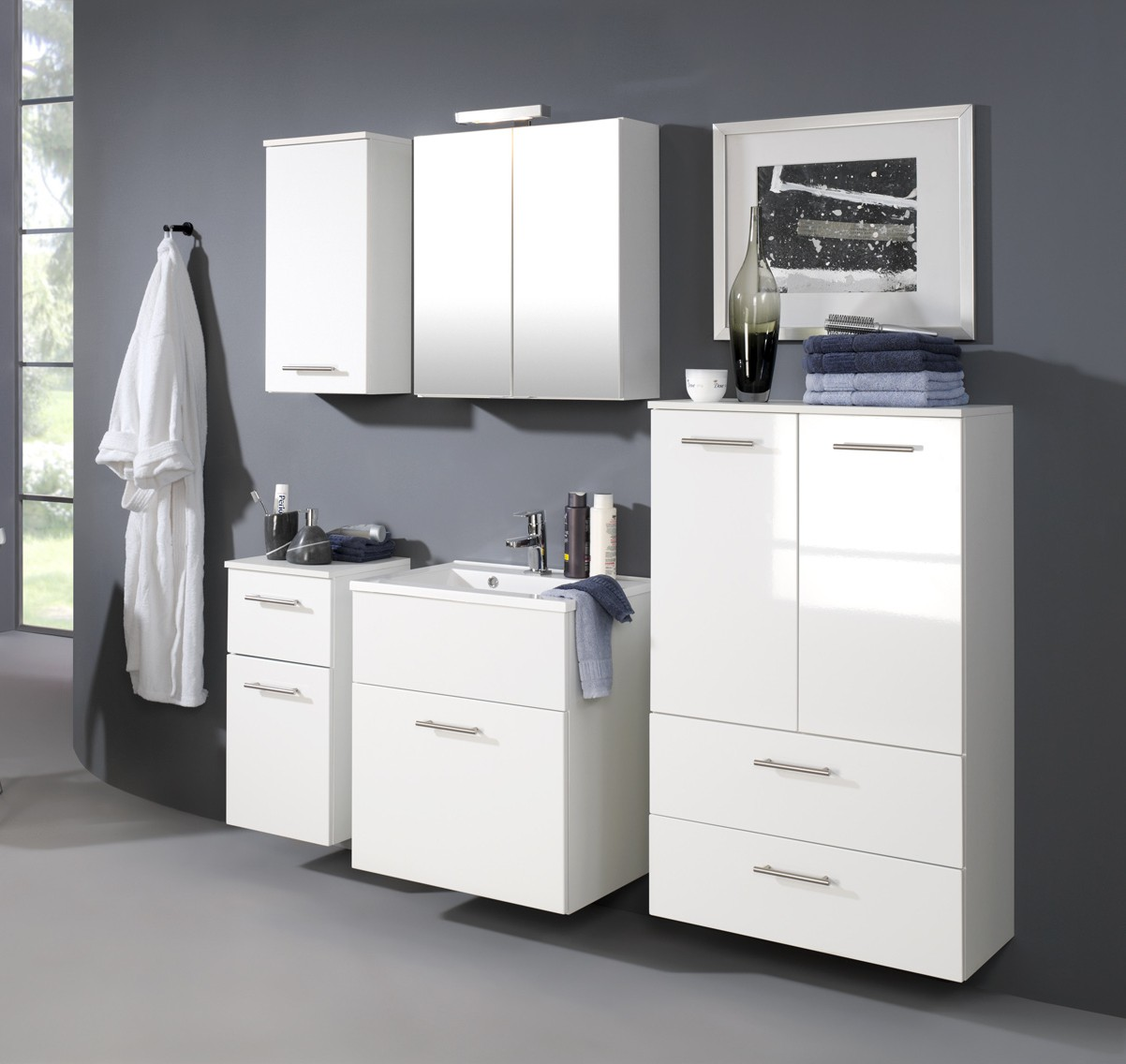 bad midischrank blanco 2 t rig 2 schubladen 70 cm breit hochglanz wei bad blanco. Black Bedroom Furniture Sets. Home Design Ideas