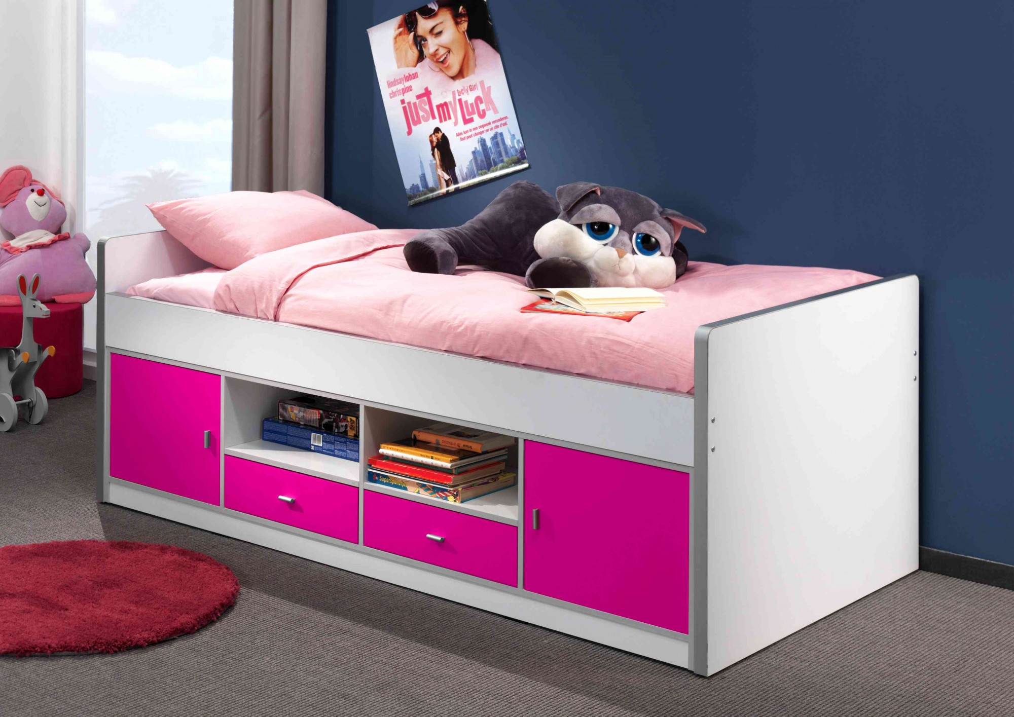 kojenbett bonny liegefl che 90 x 200 cm wei fuchsia kinder jugendzimmer funktionsbetten. Black Bedroom Furniture Sets. Home Design Ideas