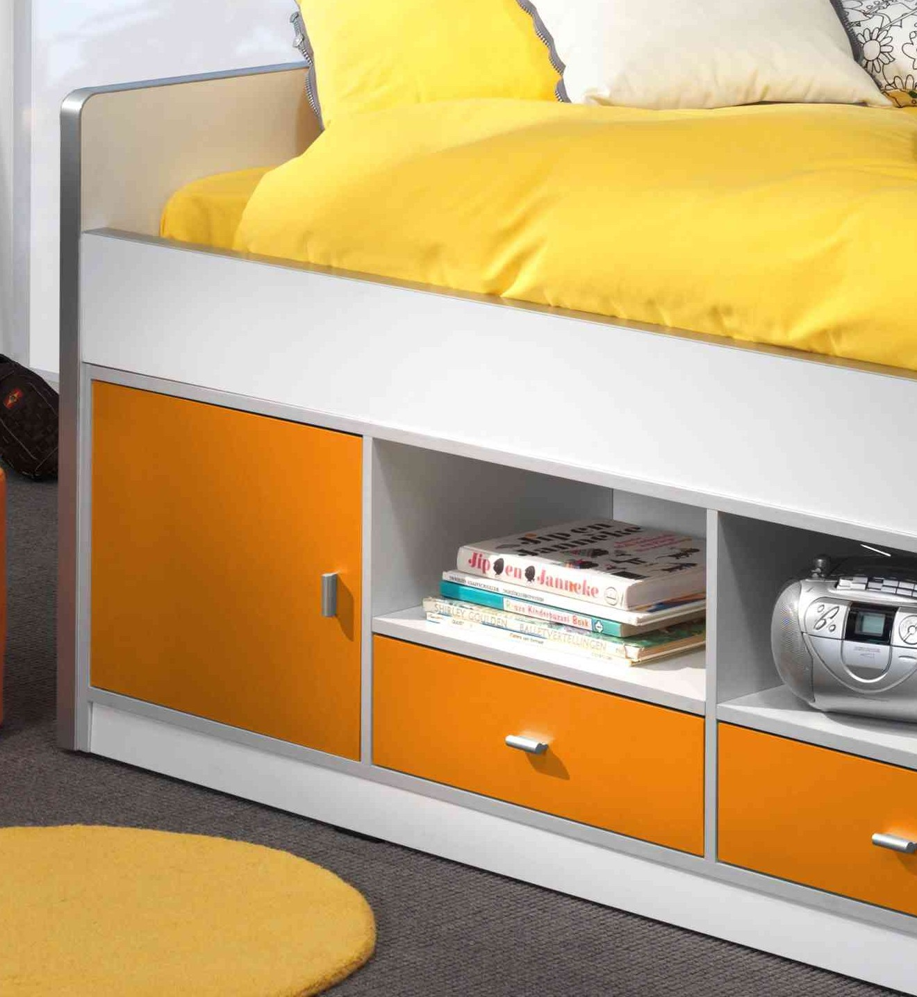 neu kojenbett bonny kinderbett einzelbett mit schubladen 90x200 weiss orange. Black Bedroom Furniture Sets. Home Design Ideas