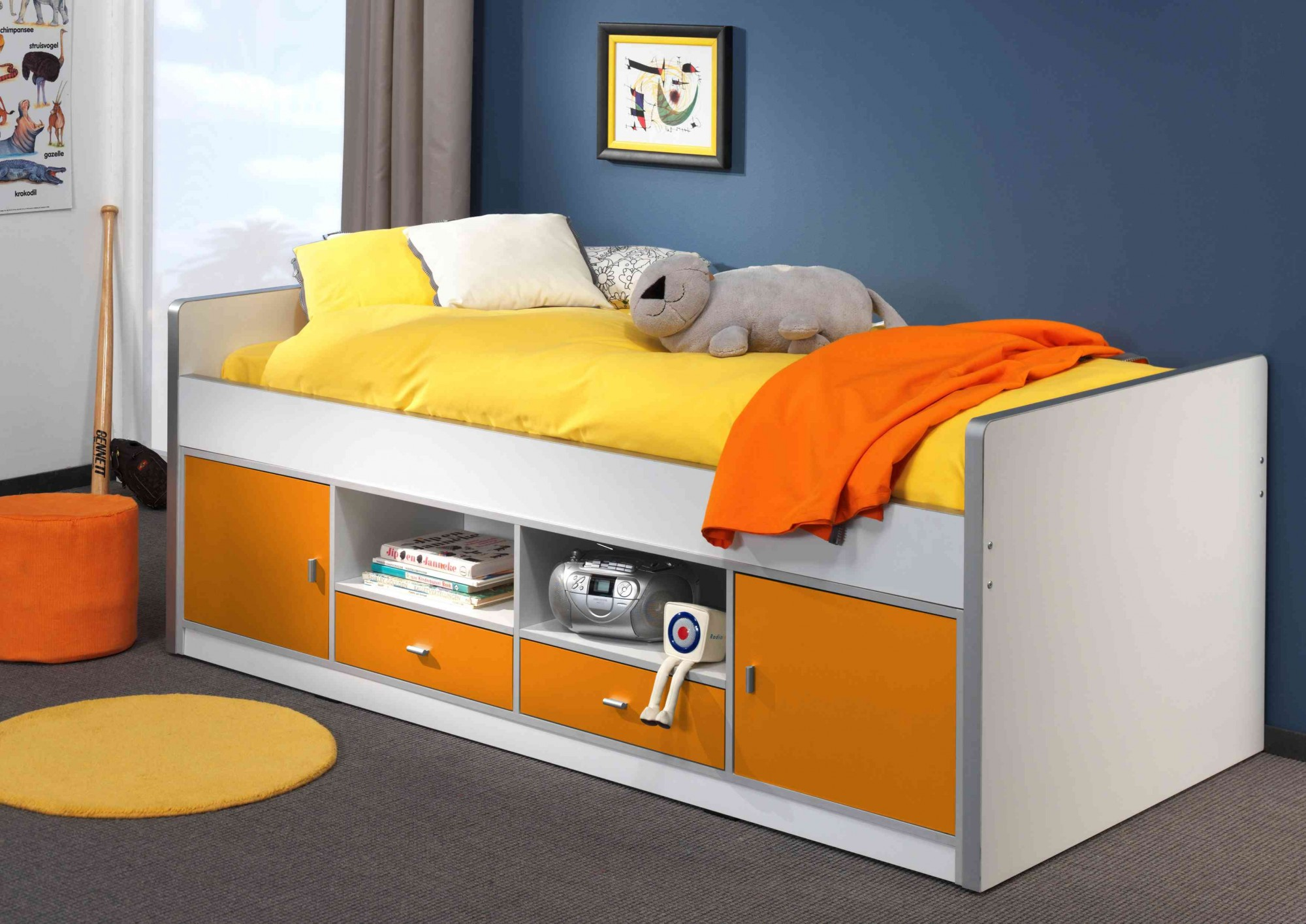 kojenbett bonny liegefl che 90 x 200 cm wei orange kinder jugendzimmer funktionsbetten. Black Bedroom Furniture Sets. Home Design Ideas