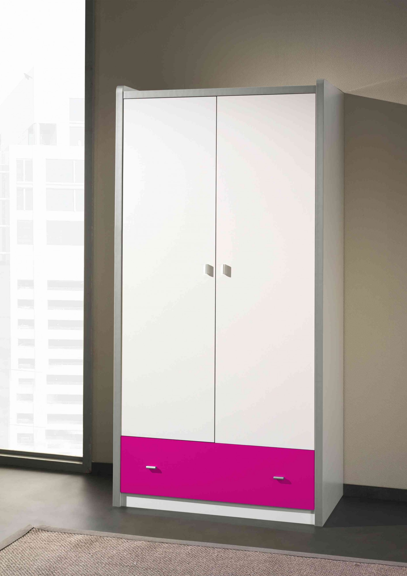 kleiderschrank bonny 2 t rig wei fuchsia kinder jugendzimmer bonny. Black Bedroom Furniture Sets. Home Design Ideas