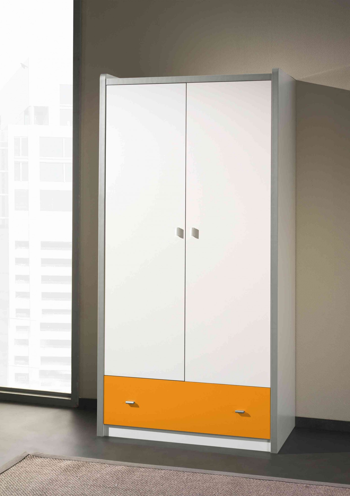kleiderschrank bonny 2 t rig wei orange kinder. Black Bedroom Furniture Sets. Home Design Ideas