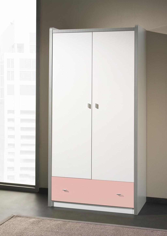 kleiderschrank bonny 2 t rig wei rosa kinder. Black Bedroom Furniture Sets. Home Design Ideas
