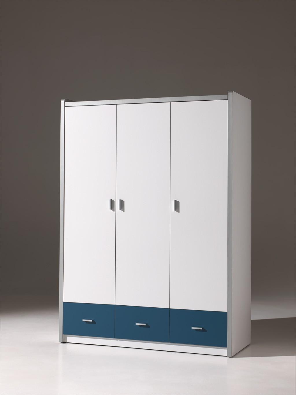 kleiderschrank bonny 3 t rig wei blau kinder jugendzimmer. Black Bedroom Furniture Sets. Home Design Ideas