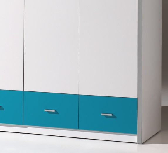 kleiderschrank bonny 3 t rig wei t rkis kinder jugendzimmer bonny. Black Bedroom Furniture Sets. Home Design Ideas