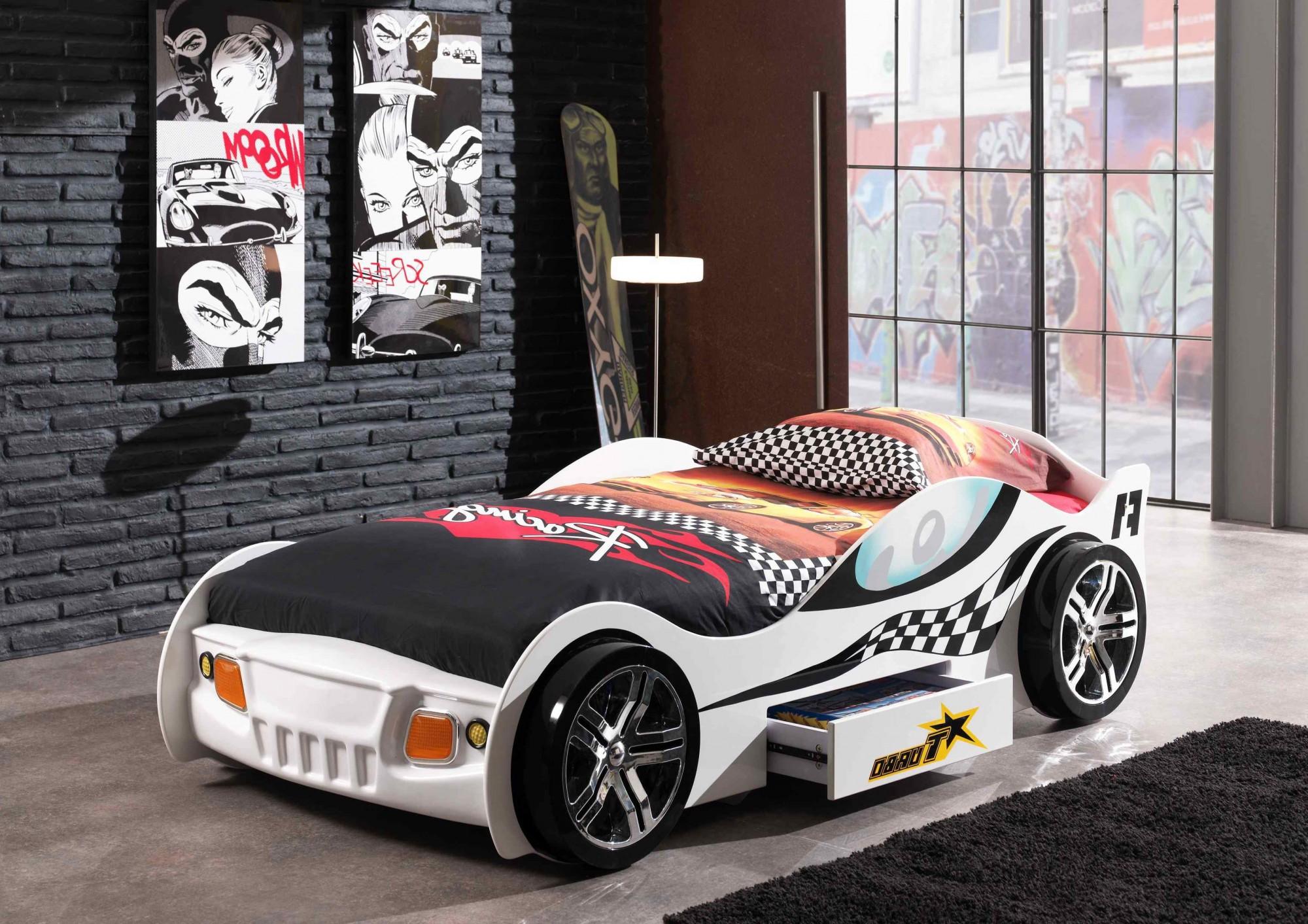 autobett turbo racing liegefl che 90 x 200 cm wei kinder jugendzimmer autobetten. Black Bedroom Furniture Sets. Home Design Ideas