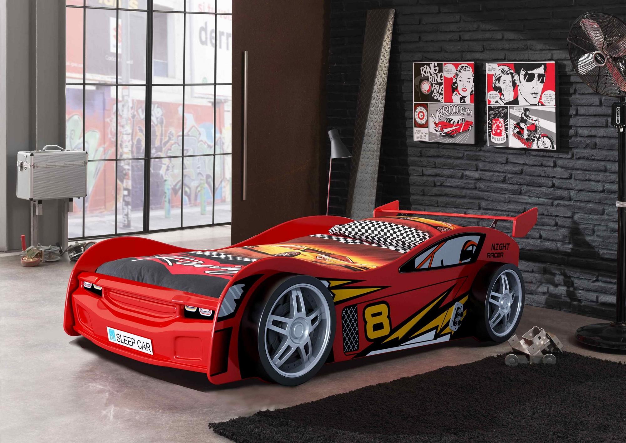 neu kinderbett night racer autobett rennautobett mit. Black Bedroom Furniture Sets. Home Design Ideas