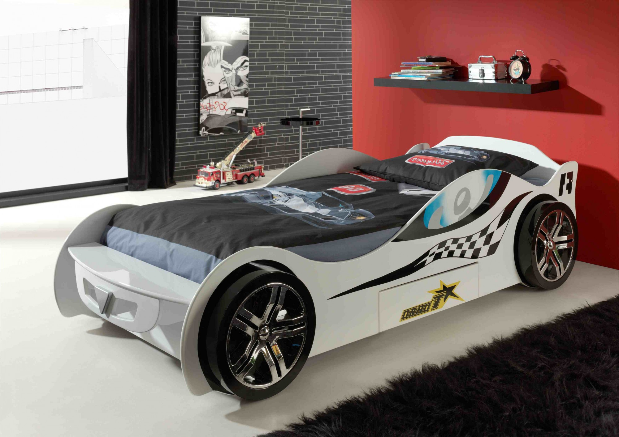neu kinderbett silverstone autobett rennautobett mit lattenrost 90 x 200 weiss ebay. Black Bedroom Furniture Sets. Home Design Ideas