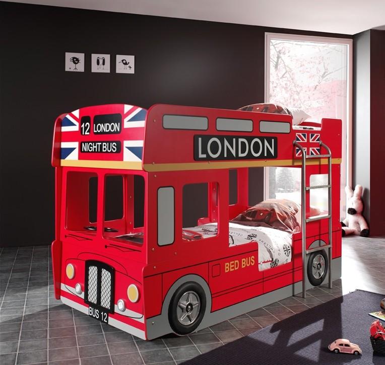 autobett london bus 2 liegefl chen 90 x 200 cm rot. Black Bedroom Furniture Sets. Home Design Ideas