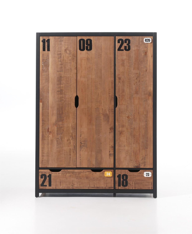 Kleiderschrank alex 3 t rig kiefer cognacfarbig for Jugendzimmer ratenkauf