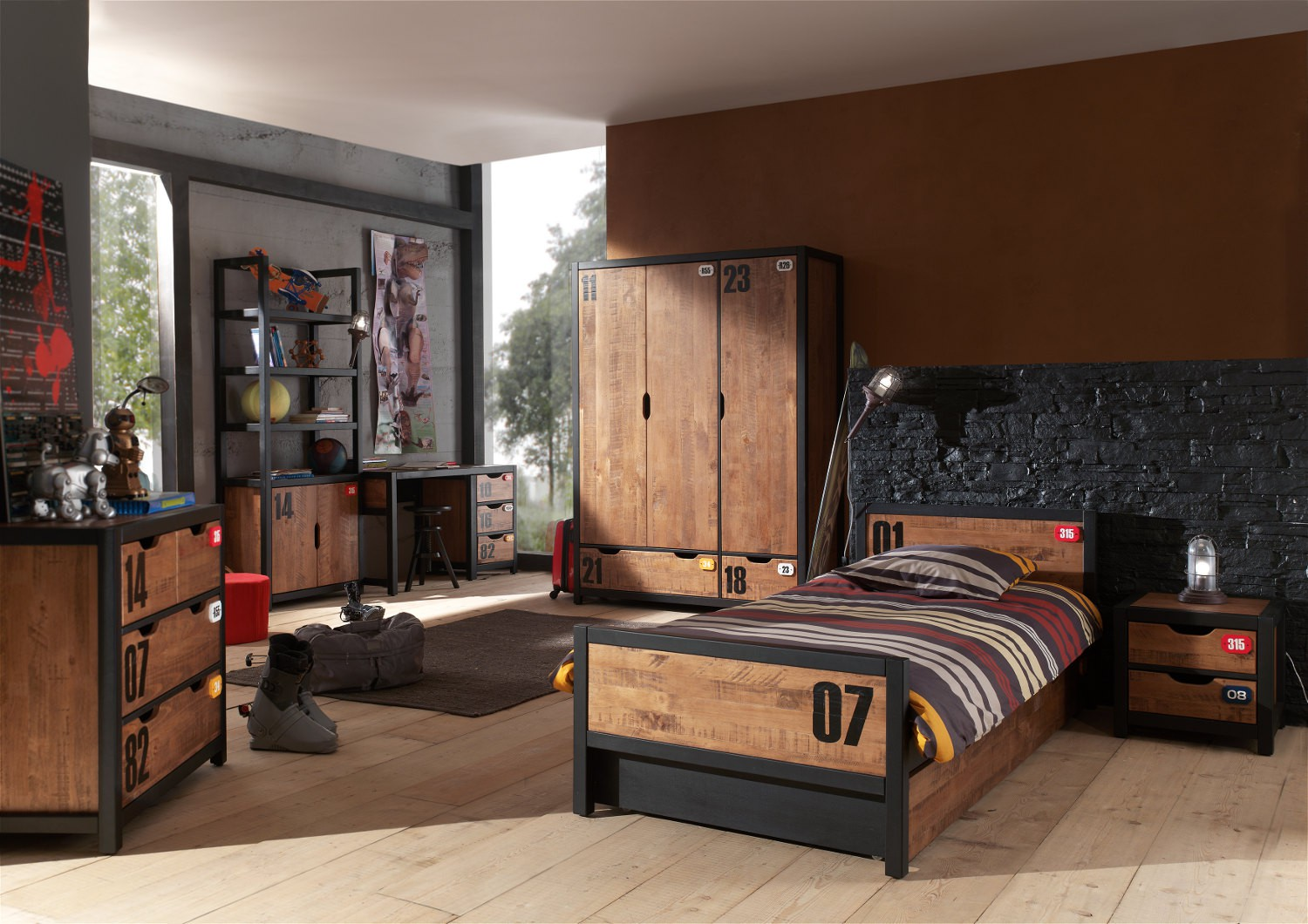 kommode alex 4 schubladen kiefer cognacfarbig schwarz kinder jugendzimmer alex. Black Bedroom Furniture Sets. Home Design Ideas