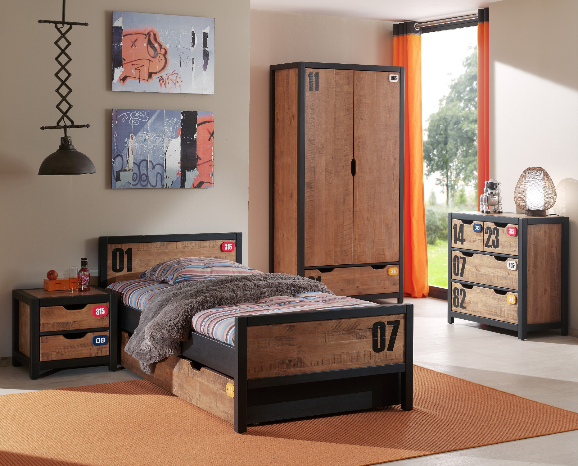 jugendzimmer alex komplett mit einzelbett bettschublade kleiderschrank 2 t rig nachtkonsole. Black Bedroom Furniture Sets. Home Design Ideas