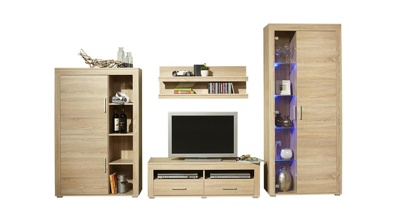wohnwand malm flex 4 teilig 290 cm breit eiche sonoma wohnen malm. Black Bedroom Furniture Sets. Home Design Ideas