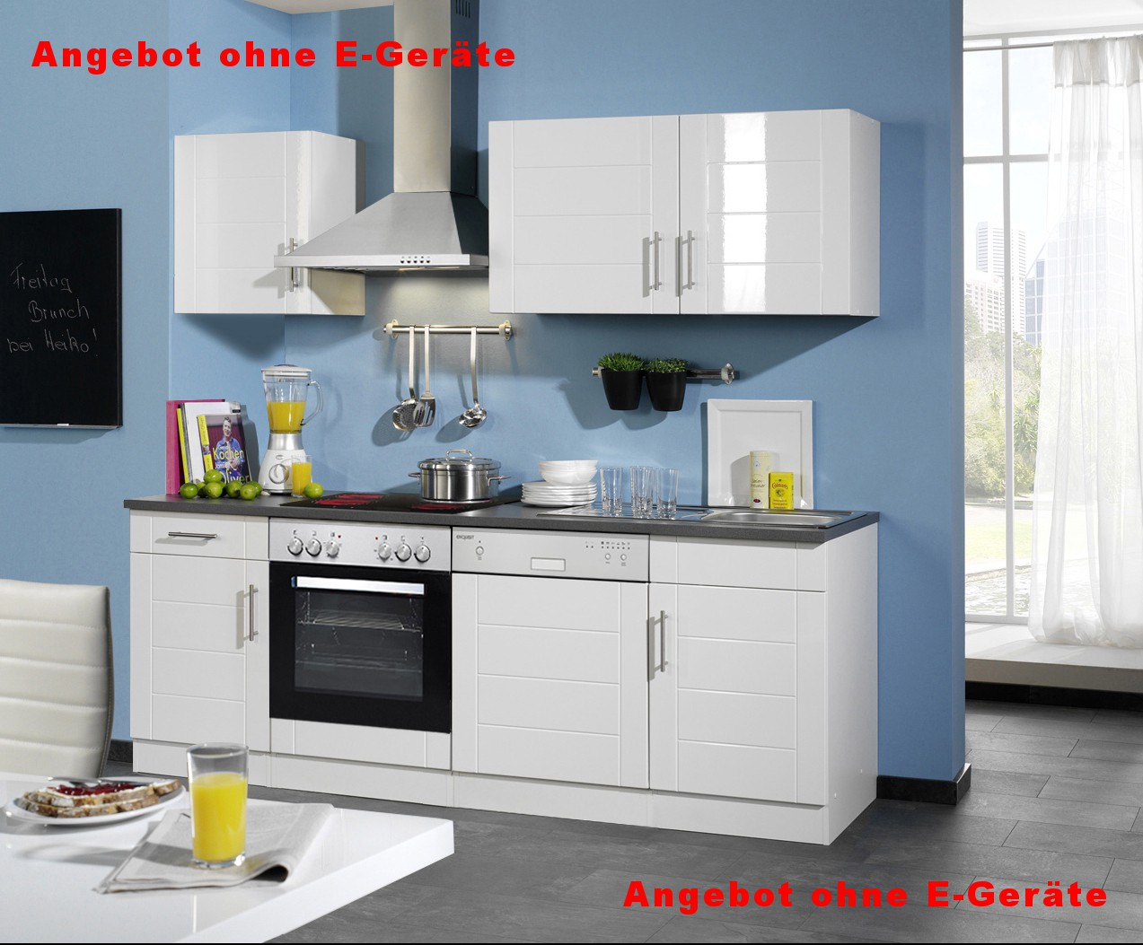 neu k chen leerblock k chenzeile nevada k chenblock 220cm weiss ebay. Black Bedroom Furniture Sets. Home Design Ideas