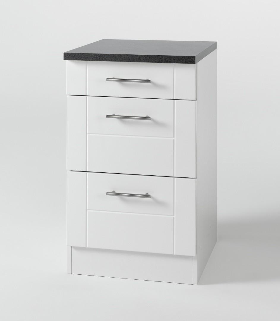 k chen unterschrank nevada 3 schubladen 50 cm breit. Black Bedroom Furniture Sets. Home Design Ideas
