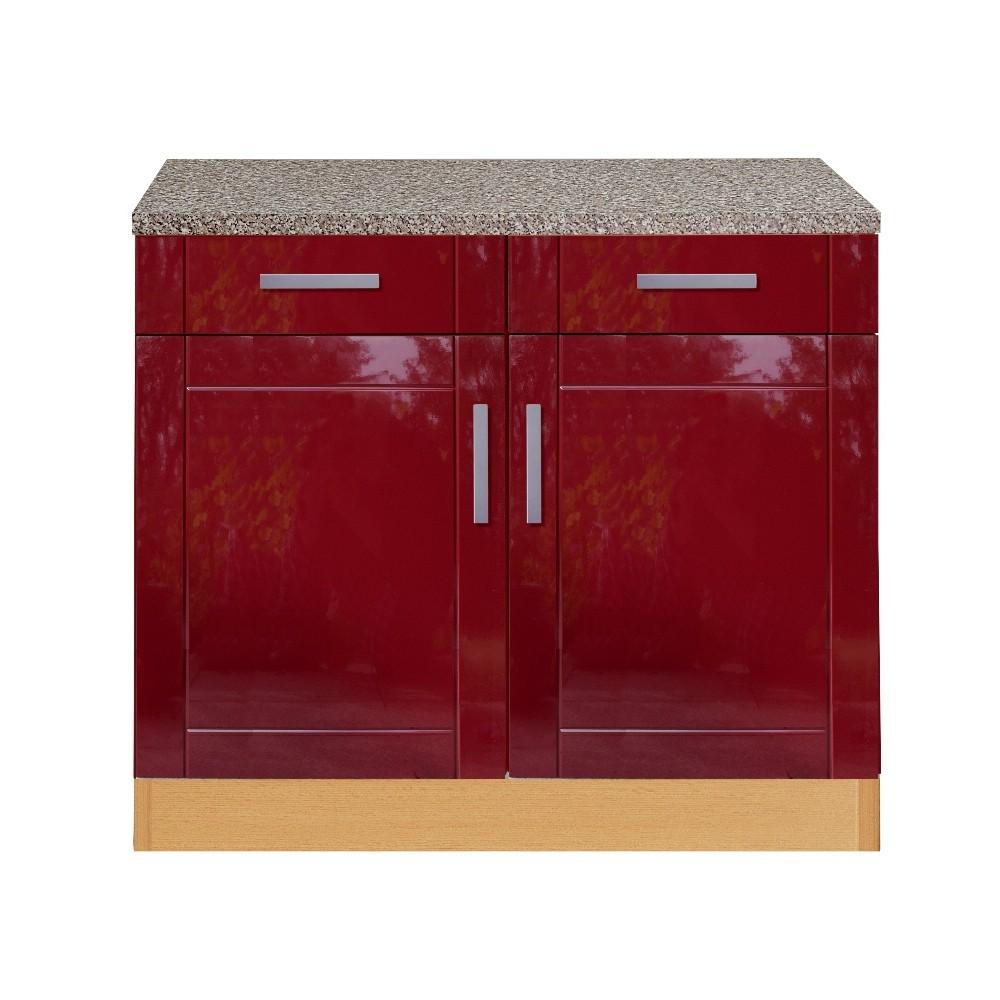 neu k chen unterschrank varel k chenschrank 100cm rot ebay. Black Bedroom Furniture Sets. Home Design Ideas
