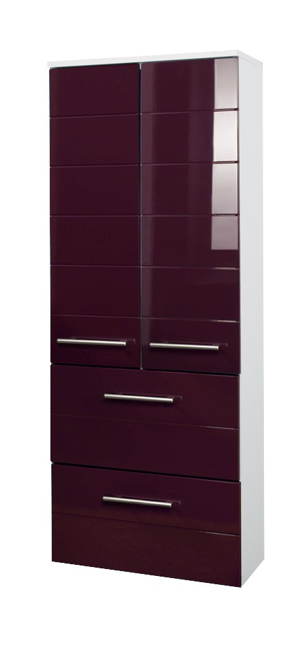 bad midischrank rimini 2 t rig 2 schubladen 50 cm breit hochglanz aubergine bad rimini. Black Bedroom Furniture Sets. Home Design Ideas